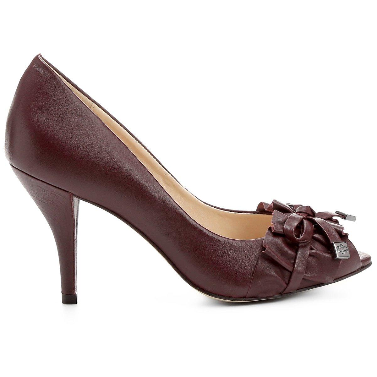 Peep Fino Babado Toe Peep Toe Couro Couro Shoestock Vinho Salto ORqpA5wn