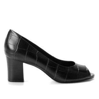 Peep Toe Couro Shoestock Basic Croco Salto Médio