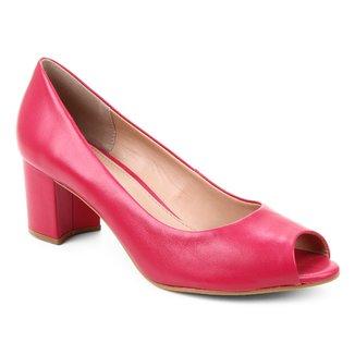 Peep Toe Couro Shoestock Basic Salto Bloco Medio