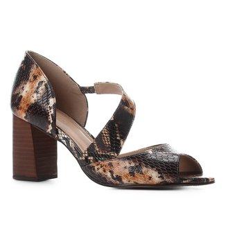 Peep Toe Couro Shoestock Cobra Salto Bloco