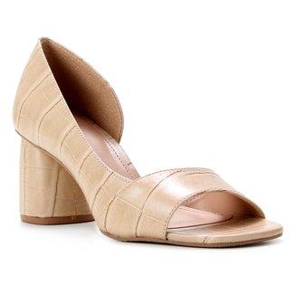 Peep Toe Couro Shoestock Croco Salto Médio