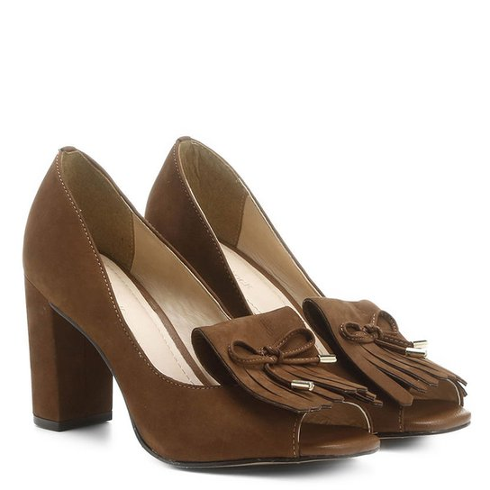 Peep Toe Couro Shoestock Franjas - Caramelo