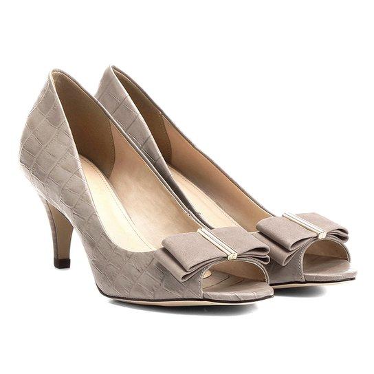 Peep Toe Couro Shoestock Laço - Bege
