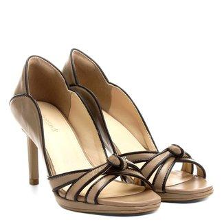 Peep Toe Couro Shoestock Meia Pata Bicolor