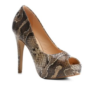 Peep Toe Couro Shoestock Meia Pata Snake