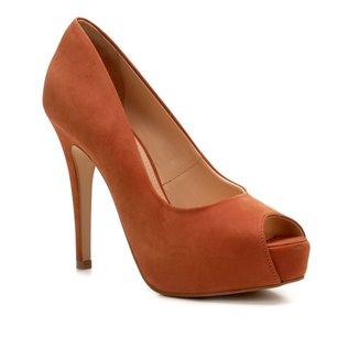 Peep Toe Couro Shoestock Meia Pata