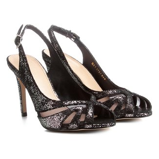 Peep Toe Couro Shoestock Metalizado