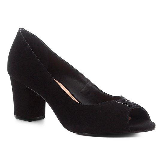 Peep Toe Couro Shoestock Nobuck Lace Salto Bloco - Preto
