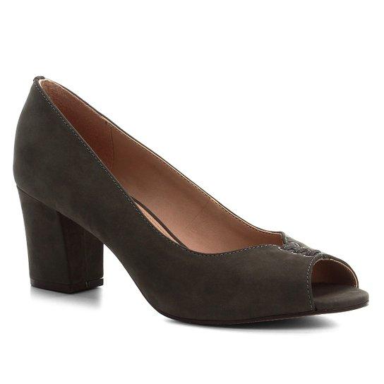 Peep Toe Couro Shoestock Nobuck Lace Salto Bloco - Verde
