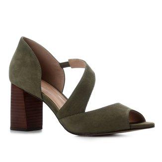 Peep Toe Couro Shoestock Nobuck Salto Bloco