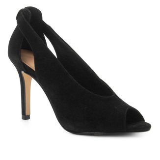 Peep Toe Couro Shoestock Nobuck Salto Fino