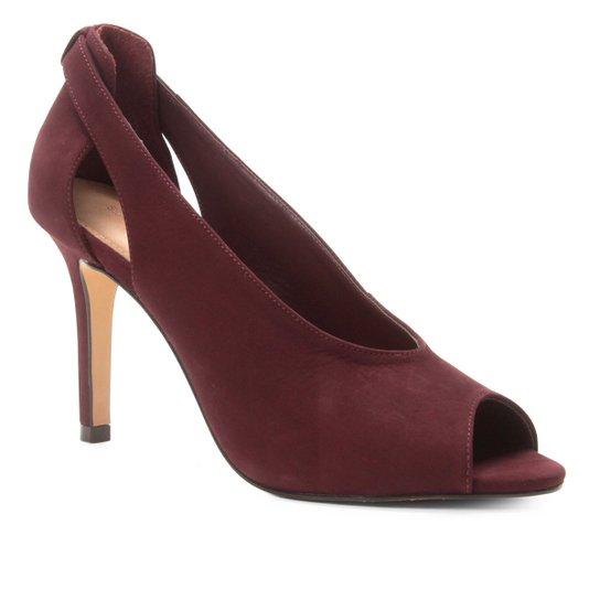 Peep Toe Couro Shoestock Nobuck Salto Fino - Vinho