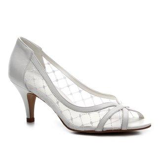 Peep Toe Couro Shoestock Noiva Tela