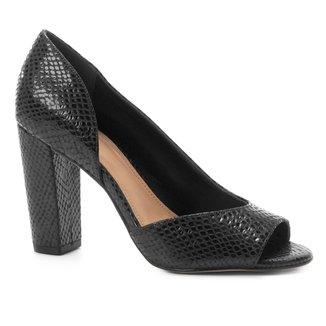 Peep Toe Couro Shoestock Salto Alto Cobra