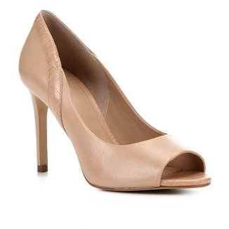 Peep Toe Couro Shoestock Salto Alto