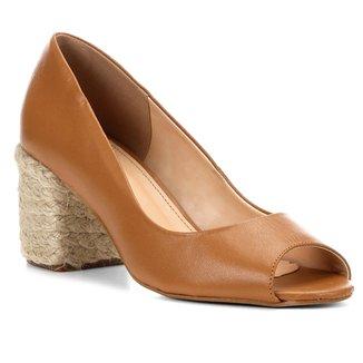Peep Toe Couro Shoestock Salto Bloco Corda