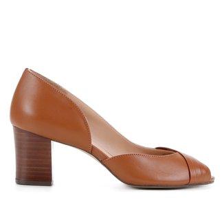 Peep Toe Couro Shoestock Salto Bloco Médio