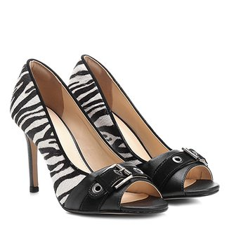 Peep Toe Couro Shoestock Salto Fino Animal Print