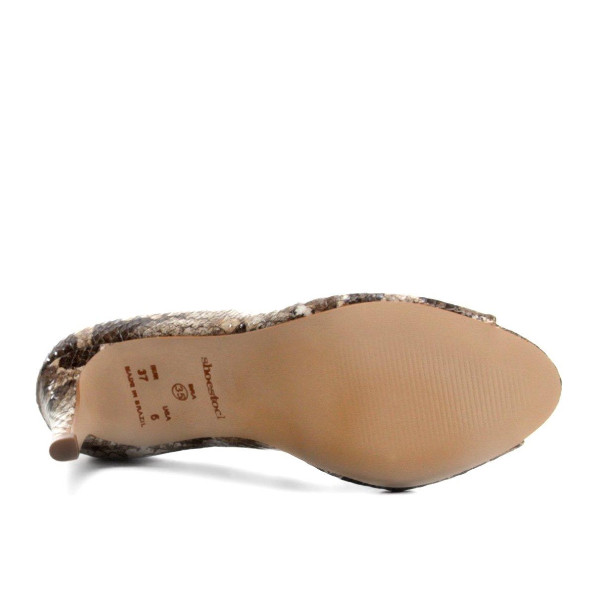 Shoestock Toe Shoestock Peep Couro Couro Peep Toe Cobra Salto Fino Cobra Salto xpdRfSRn