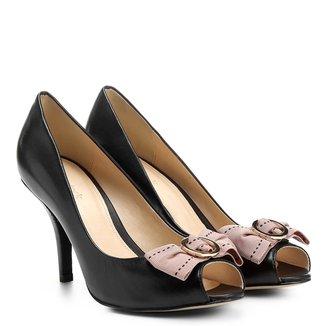 Peep Toe Couro Shoestock Salto Fino Gorgurão