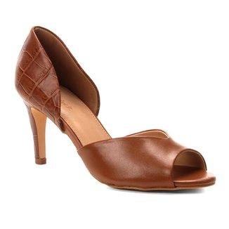 Peep Toe Couro Shoestock Salto Fino Mix Croco