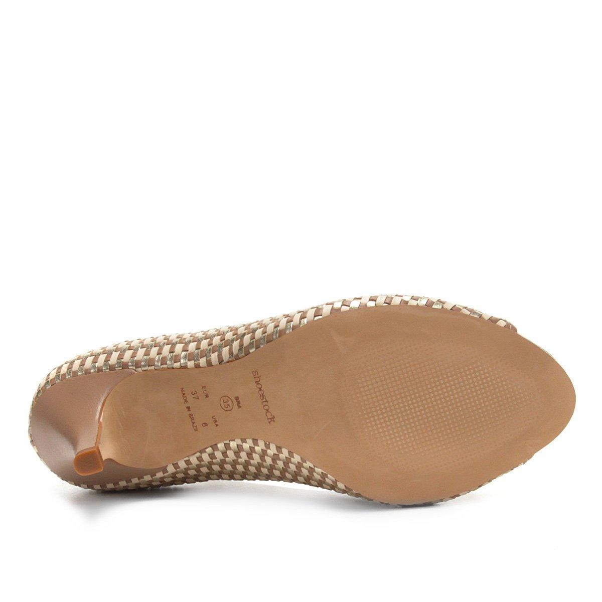 Salto Fino Shoestock Toe Nude Couro Peep Shoestock Couro Toe Tressê Fino Tressê Salto Nude Toe Peep Peep ASqwAF
