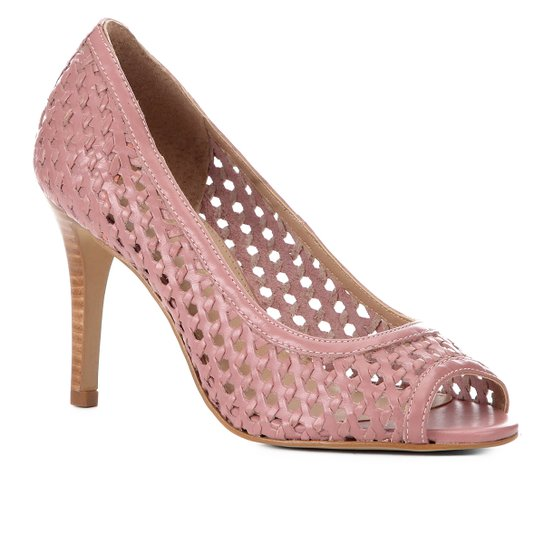 Peep Toe Couro Shoestock Salto Fino Tressê - Rosa