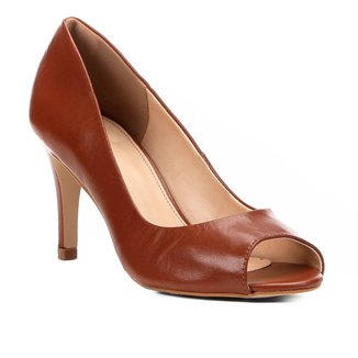 Peep Toe Couro Shoestock Salto Fino