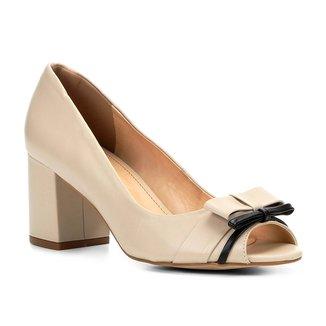 Peep Toe Couro Shoestock Salto Grosso Laços