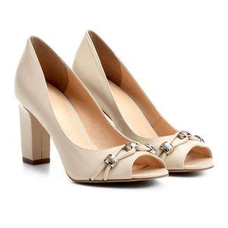 Peep Toe Couro Shoestock Salto Grosso Metais