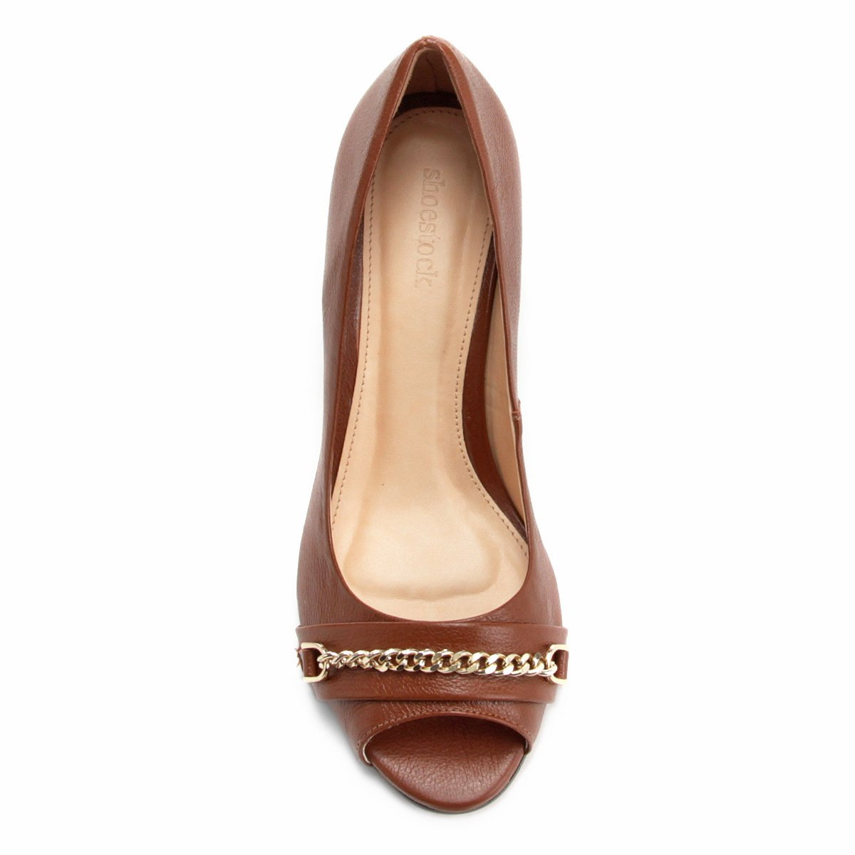 Toe Shoestock Peep Toe Tartaruga Couro Peep Marrom Salto Grosso BEqITx