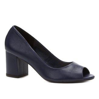 Peep Toe Couro Shoestock Salto Grosso