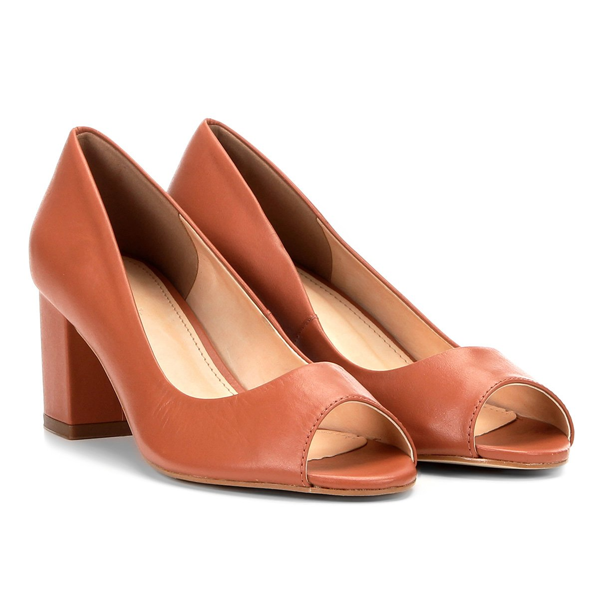 Toe Peep Peep Salto Shoestock Toe Grosso Couro Couro Marrom gTxwgOp