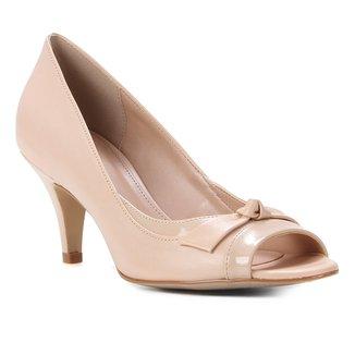 Peep Toe Couro Shoestock Salto Médio Laço