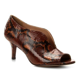 Peep Toe Couro Shoestock Snake High Vamp
