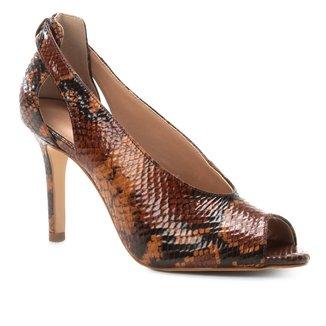 Peep Toe Couro Shoestock Snake Salto Fino