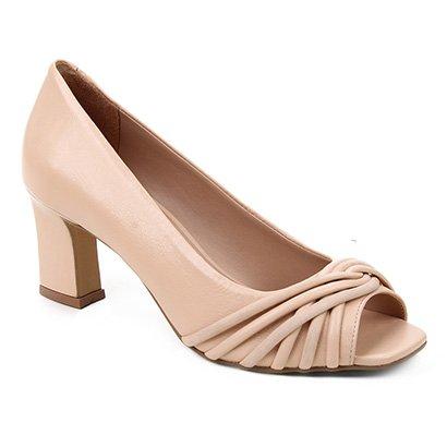 Peep Toe Couro Shoestock Tiras Rolete Salto Médio