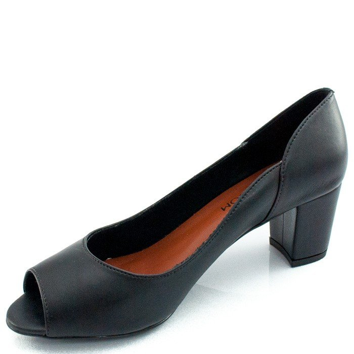 Show Sapato em Peep Couro Peep Preto Toe Toe wOqxwXY