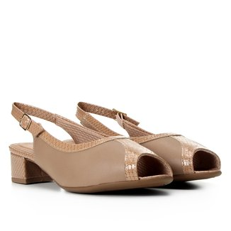 Peep Toe Piccadilly Chanel Recortes Salto Baixo