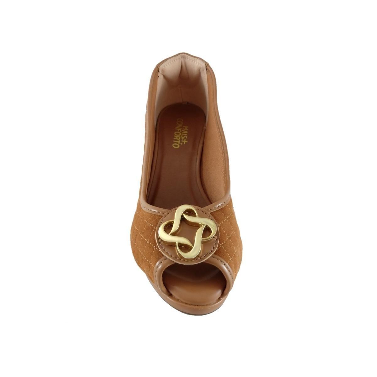 Matelassê Peep Confort Sapato Feminino Web Peep Toe Caramelo Toe 1YSwHnvx