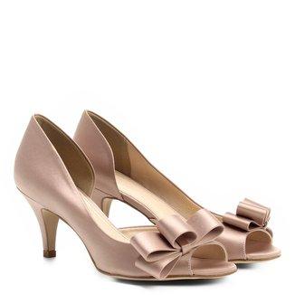 Peep Toe Shoestock Cetim Laço