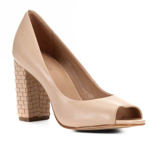 Peep Toe Shoestock Couro Salto Médio Bloco - Nude