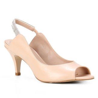 Peep Toe Shoestock Couro Slingback Salto Médio Strass