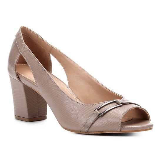 Peep Toe Shoestock Lezard Metal - Cinza