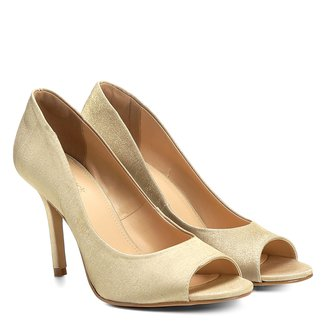 Peep Toe Shoestock Liso Cetim