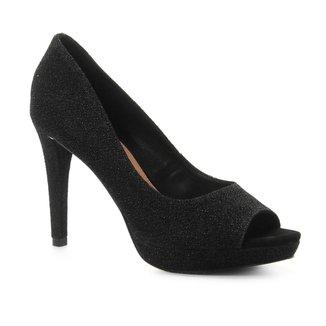 Peep Toe Shoestock Meia Pata Lurex