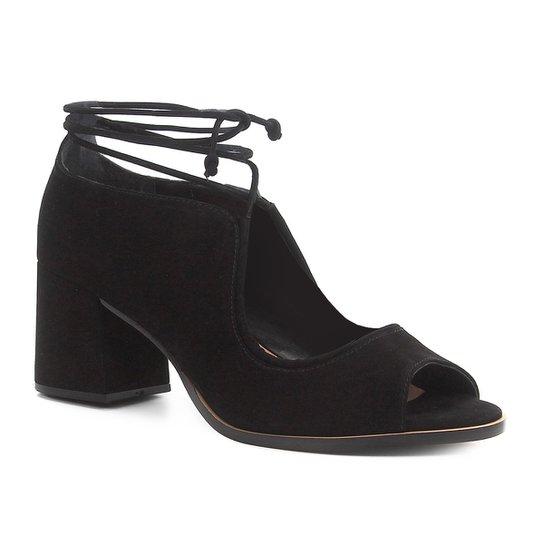 Peep Toe Shoestock Nobuck Tiras - Preto