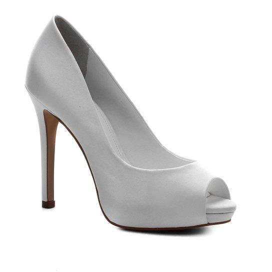 Peep Toe Shoestock Noiva Cetim Meia Pata - Branco