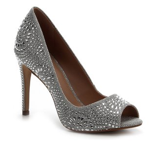Peep Toe Shoestock Noiva Lurex Cristais