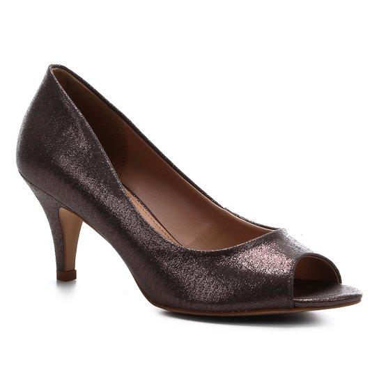 Peep Toe Shoestock Noiva Tecido Cristais - Prata